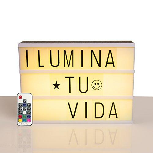Caja de luz cinematográfica con letras y números. Light Box con LED de colores. Pantalla luminosa A4. Cartel ledbox con mando a distancia. Letrero luminoso con cable USB
