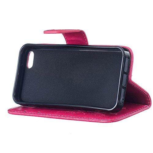 Case pour la Apple iPhone 5 / 5s / SE Coque,Campanula plume Étui en PU Cuir Phone Case Cover Couverture Fonction Support avec Fermeture Aimantée de Feuille Motif Imprimé+Bouchons de poussière (4ZA) 3