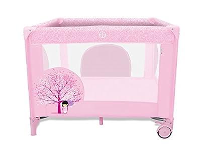 Asalvo 12494 - Parque cuadrado, diseño flor de cerezo, color rosa