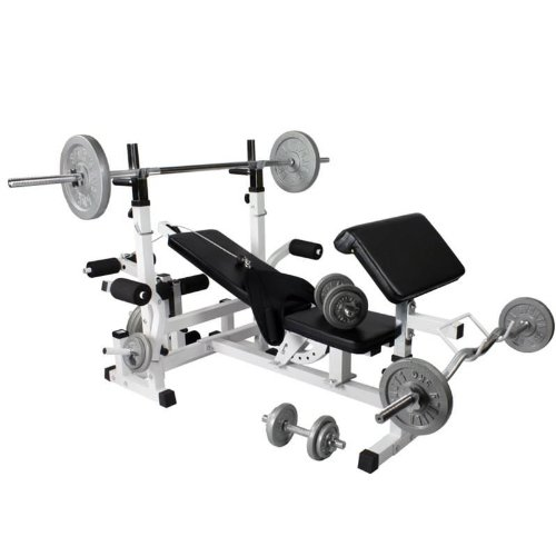 Gorilla Sports Universal Workstation with 108KG Cast Iron Weight Set