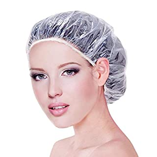 JTDEAL 100PCS Shower Caps Disposable Thick Transparent Bathtub Shower Cap Elastic Bathing Hair Caps Use for Bathrooms SPA Household Hotel and Hair Salon Plastic Shower Hair Cap