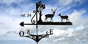 Weathervanes Girouette Motif: girouette de toit cerf et biche