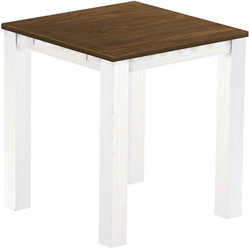 Brasil Meubles Haut 'Rio Classico' Table 120 x 120 cm, Pin Massif, Coloris Noyer – Blanc