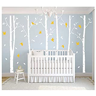 Masterly Set of 6 White Brichs Wall Stickers, Forest Tree Vinyle Removable Wallpapers,Modern Decorations for Living Room/Office/Bedroom