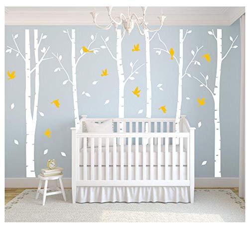 """BDECOLL weiß große Baum wandtattoo wandsticker,Aufkleber/Sticker, ablösbar, Vinyl, für Kinderzimmer,weiße und gelb, 71\"""" h x 110w"""