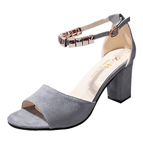 Sandalen Damen,ABsoar Mode Sommer Peep Toe Sandaletten Frauen Schnalle Sandalen KnöChel Mitte Ferse Party Pumps Offene Spitze Schuhe (Grau, 38)