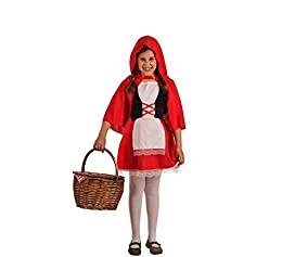Disfraz de Caperucita Roja para niña. Incluye vestido con delantal y capa. No incluye cesta, medias ni calzado. ¡Compra en un comercio online que cumple con todas las normativas de la U.E., compra en DisfraZZes!