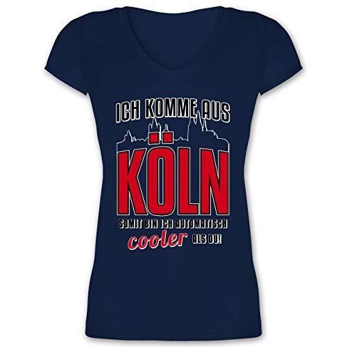 Städte - Ich komme aus Köln - L - Dunkelblau - XO1525 - Damen T-Shirt mit (Downton Abbey Kostüm Frauen)