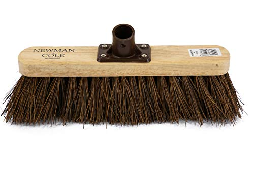 "Newman and Cole 12"" Wooden Broom Head with Stiff Bassine Natural Hard Bristle - Replacement Wooden Broom Head for Outdoor Garden Yard Brush Sweeping - Wood Brush Head Fitted Fixing Bracket Connector"