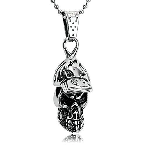 Daesar Kette Edelstahl Silber Schwarz Totenkopf Kopf Ball Caps Anhänger Halskette für Herren, 3.5x1.3CM