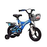 FINLR-Kinderfahrräder Junge Mädchen Baby-Kinderfahrräder Kinder Pedal Fahrrad 14.12.16.18 Zoll Stoßdämpfung Integriert Rad Mit Stabilisatoren Und Rücksitz (Color : Blue, Size : 16 inches)