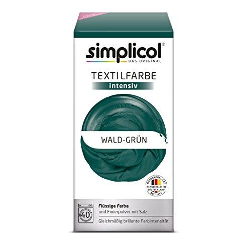 simplicol Textilfarbe intensiv (18 Farben) - Wald-Grün 1812: einfaches Textilfärben in der Waschmaschine, Komplettpackung mit Färbemittel und Fixierpulver