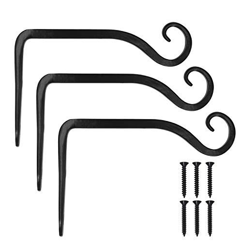 VEVIK Pflanzenhalterung Blumenampelhalter Eisen Wandhaken Blumenampel Wandhalter Haken 10cm zum Aufhängen von Pflanzer Vogelhäuschen Laterne Windspiele Wandleuchter - 3 Stücke