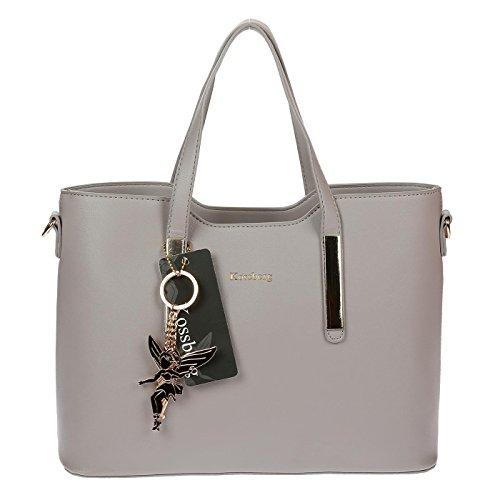 201216 Kossberg Damen Handtasche Henkeltasche Tasche Grau