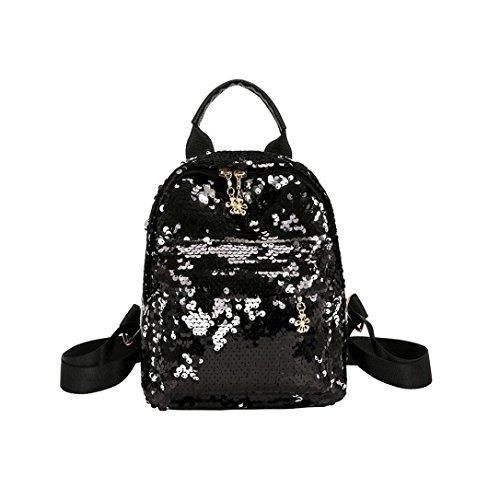 Sling Bling (Shinning Glitter Bling Rucksack VENMO Adrette Pailletten Reisetasche Rucksackhandtaschen Schulstil Reisetasche Reißverschluss Schulranzen Reiserucksack Mode Bag Handtasche Tasche Taschen (Black))