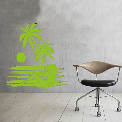 Sonnenuntergang Palm Tree Wall Decor Aufkleber ein Mädchen am Strand liegend Wandaufkleber Kunst Vinyl Wandtattoos Modern blau 59x63cm -