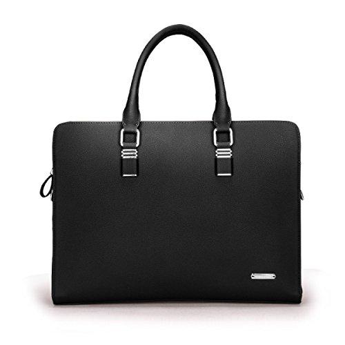 Männer Leder Business Handtasche Ultra-Faser Tasche Messenger Bag Tide Aktenkoffer Cross Section Hand Tasche Black