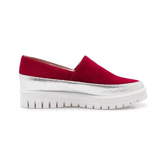 VogueZone009 Femme à Talon Bas Matière Souple Couleurs Mélangées Tire Rond Chaussures Légeres Rouge