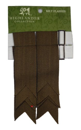 Pure Wool Kilt Flashes in Weathered Green