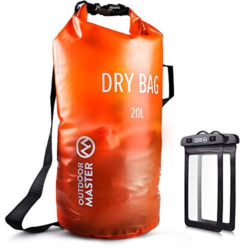 OutdoorMaster Dry Bag- 5L/10L/20L Stylisher Leichter Trockensack mit 2 freie wasserdichte Handybeutel- wasserdichte Tasche für Schwimmen, Bootfahren, Angeln & Snowboarden(20L)