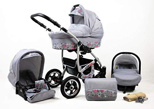 SaintBaby Kinderwagen New L-GO 2in1 3in1 Set alles in einem Babyschale Buggy Pink Owl 3in1 mit Babyschale