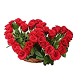 Floralbay Valentine's Day Specail Fresh Flowers Two Heart Shape Arrangment of Red Roses