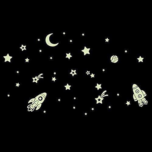 Kumkey Leuchtaufkleber Leuchtsticker Fluoreszierend Wandsticker Selbstklebend Raum Aufkleber Leuchtpunkte Sterne für Schlafzimmer Kinderzimmer Babyzimmer Wandtattoo Wandaufkleber (Raumfahrzeug)