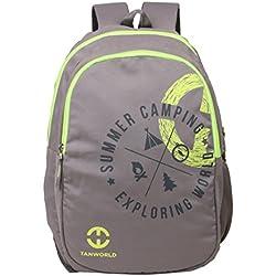 Casual Daypack - Tanworld Holden Economical Student Backpack - Stylish Lightweight unisex College bag - Regular Backpack Bag - Grey & Fluorescent Green
