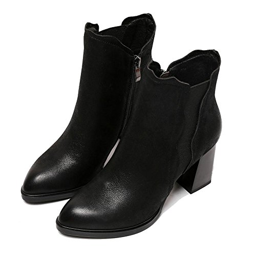 retro pelle casual con 38 elastico tacchi alla confortevole caviglia cerniera alti BLACK 36 spessa donne stivali scarpe Martin laterale in breve BLACK qOtFXt4