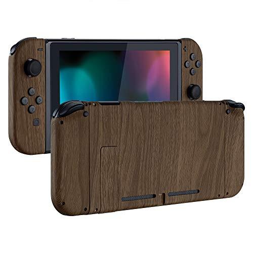 eXtremeRate Hülle Case Schutzhülle Cover Schale Tasche Gehäuse Shell Zubehör Kit für Nintendo Switch Console, NS Joycon Controller mit Buttons, DIY-Ersatzschale für Nintendo Switch(Holz-Optik)
