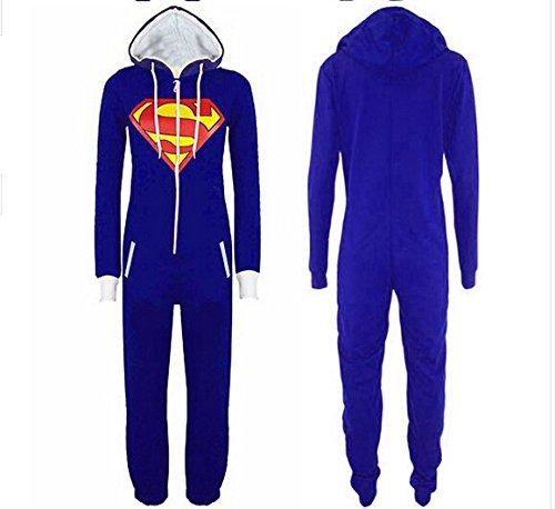 URAQT Unisex Batman Superman Pigiama Onesie Cosplay Costume Con Zip Front / Chiusura Blu