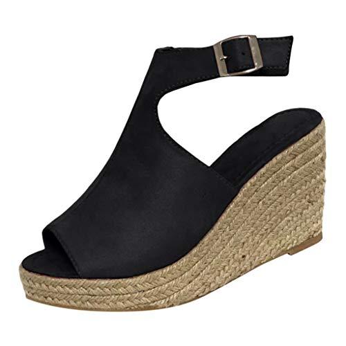 FNKDOR Schuhe Sandalen Damen Keilabsatz Peep-Toe Slingback Ankle Strap Schnalle Hanf weben Wedge Sandals Schwarz 45 EU Tone Peep Toe Slingback Sandal