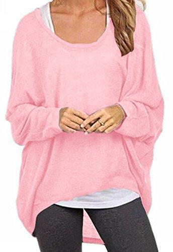 Meyison Damen Lose Asymmetrisch Sweatshirt Pullover Bluse Oberteile Oversized Tops T-Shirt Rosa-M