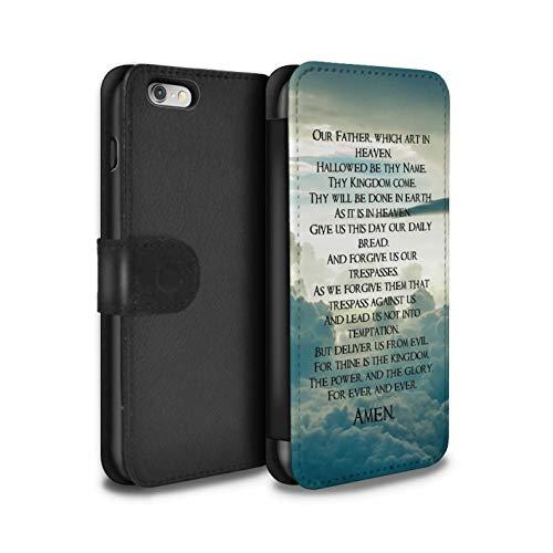 Hülle Für Apple iPhone 6 Christliche Bibel Vers The Lord\'s Prayer Design PU Leder Tasche Brieftasche Schutz Handyhülle Flip Case