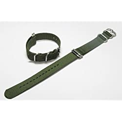 Gents 22mm Green 5 Ring Nylon Military Watch Strap