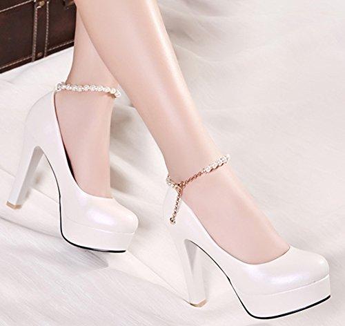 Aisun Femme Mode Talon Bloc Plateforme Escarpins Blanc