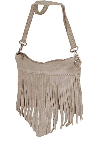 fashion-formel Damen Leder Tasche, Fransentasche, Schultertasche, Minibag, Umhängetasche Fransen echt. Wildleder, Italienische Handarbeit - Wildleder Fransen Tasche