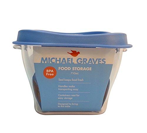 Price comparison product image Michael Graves 3 Cup Food Storage Container, 0.71-Litre, Powder Blue