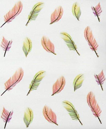 Nail art manucure stickers ongles décalcomanie scrapbooking: Plumes - vert et marron liseré doré