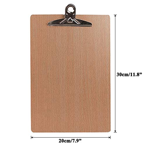 PetHot 10 Pcs Wooden A4 Clipboard Hardboard Chrome Clip Small Menu Board Rigid Paper Document Holders for Office Warehouse Home School