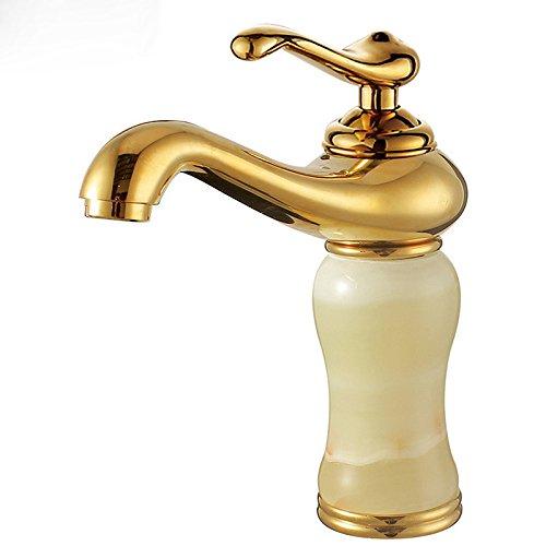 Hlluya Wasserhahn für Waschbecken Küche Alle Kupfer Marmor warmes und Kaltes einzigen Griff Einzelne Bohrung goldene Wasserhähne. -