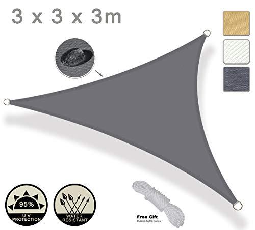 Axt shade tenda a vela impermeabile triangolare 3x3x3m, parasole e protezione raggi uv, per esterni, cortile, giardino, colore grigio