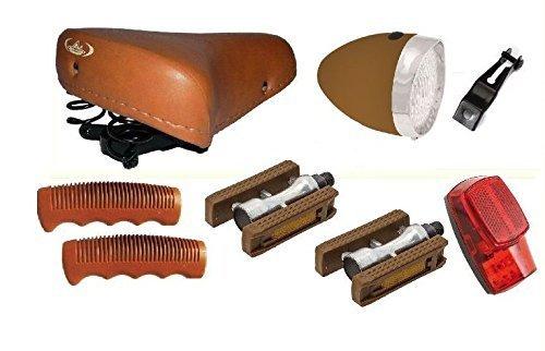 'Montegrappa Fahrradsattel mit Federn + Paar Scheinwerfer + Waschhandschuh + Pedale/Kit komplett für Fahrräder Graziella-Fahrräder Oldtimer-Typ
