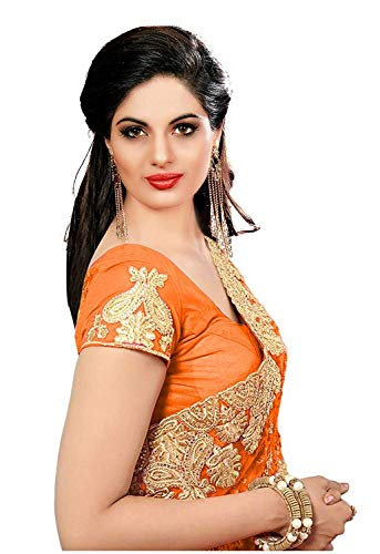 Glamify Women's Latest Design Net Embroidered Saree with Blouse Piece (Orange_Free Size)