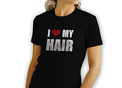 GILDAN I Love My Hair - Red Heart - Novelty Gift - Custom Adult Unisex Tshirt