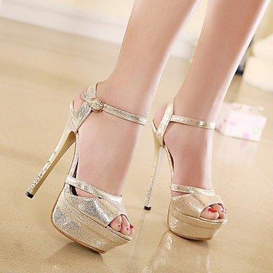 Moda Donna Sandali Sexy donna estate tacchi piattaforma / cinturino alla caviglia PU Wedding / Party & sera abito / Stiletto Heel fibbia Argento Oro / a piedi Silver
