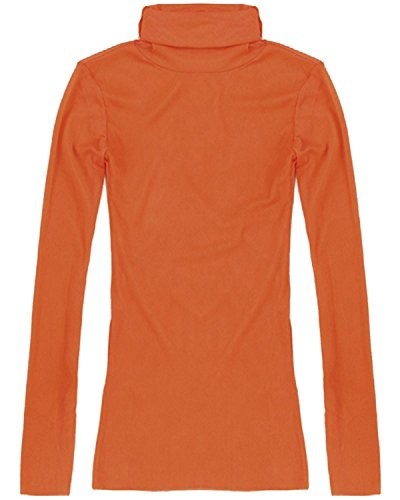 ZANZEA Femme Sexy Manches Longues Hauts Chemise Col Roulé Gauze Tops Mesh Transparent Chemise Orange