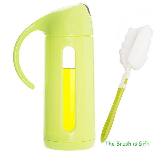 iRayer Olivenöl Dispenser Flasche, 11 Oz / 320ml Öl Flasche Glas ohne Tropfen, Olivenöl Flasche für Küche, - Sojasauce Flasche, Essig Flasche, Küche Condiment mit automatischer Kappe. (Green) (Condiment Dispenser Mit Kappe)