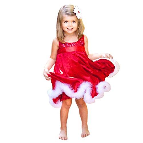 Festliche Mädchenkleider Hirolan Cocktailkleider Knielang Baby Mädchen Party Prinzessin Kleid Kinder Weihnachten Rot Paillette Tutu Kinderkleider Weihnachtsmann Geschenk (130cm, Rot)