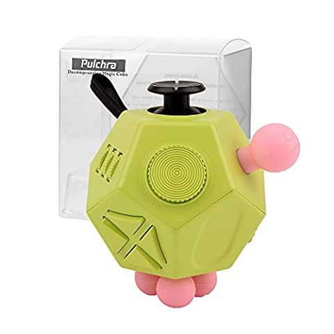 PULCHRA Fidget Cube Box (12 Sides, 3 colors) Focus Attention Fiddle Desk Desktop Toys Gadget ADHD Autism Anxiety Stress Relief Reliever toy tool Relax Quite Smoking Nail Bite for Adults & Kids (Green)